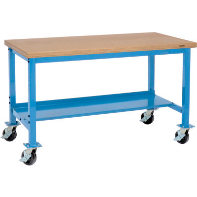 """Global Industrial™ 72""""W x 30""""D Mobile Production Workbench - Shop Top Safety Edge - Blue"""