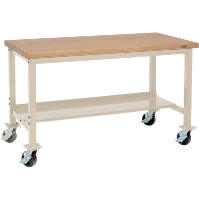 """Global Industrial™ 72""""W x 30""""D Mobile Production Workbench - Shop Top Safety Edge - Tan"""
