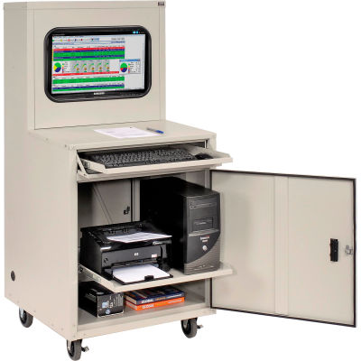 Global Industrial™ Deluxe LCD Industrial Computer Cabinet, Gray, Assembled