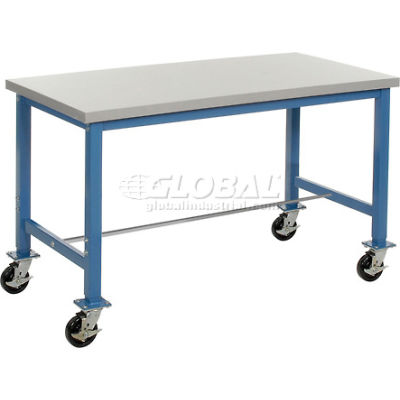 """Global Industrial™ 72""""W x 30""""D Mobile Packing Workbench - ESD Laminate Safety Edge - Blue"""