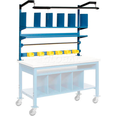 Global Industrial™ Upright Kit with Shelf, Dividers, Roll Bars & LED Light Kit 72 x 30 - Blue