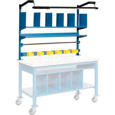 Global Industrial™ Upright Kit with Shelf, Dividers, Roll Bars & LED Light Kit 72 x 30 - Blue