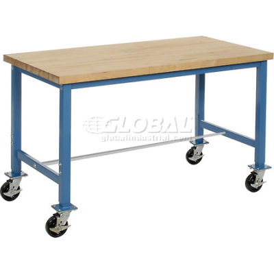 """60""""W x 30""""D Mobile Packing Workbench - Maple Butcher Block Square Edge - Blue"""
