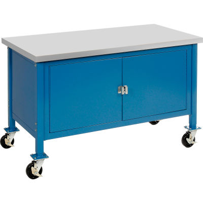 "72""W x 30""D Mobile Workbench with Security Cabinet - Plastic Laminate Safety Edge - Blue"