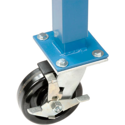 "Global Industrial™ 5"" Phenolic Swivel Casters with Brakes Blue - Set of 4"