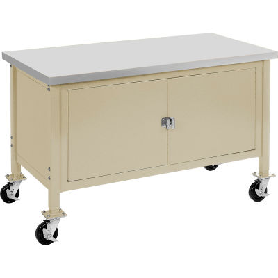 """72""""W x 30""""D Mobile Workbench with Security Cabinet - ESD Safety Edge - Tan"""