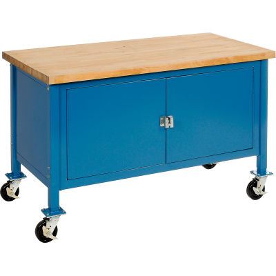 """60""""W x 30""""D Mobile Workbench with Security Cabinet - Maple Butcher Block Safety Edge - Blue"""