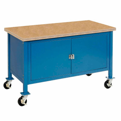 Global Industrial™ 72 x 30 Mobile Workbench - Security Cabinet - Shop Top Square Edge - Blue