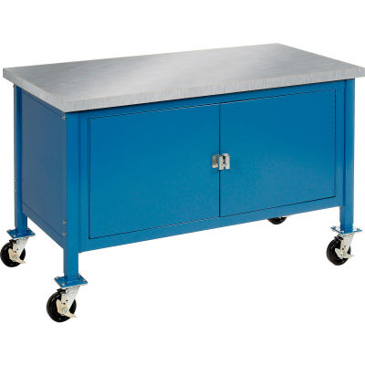 """60""""W x 30""""D Mobile Workbench with Security Cabinet - Stainless Steel Square Edge - Blue"""