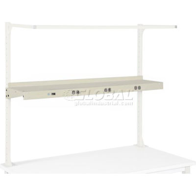 """Global Industrial™ Cantilever Upper Steel Shelf with 6 Single Outlets 60""""W - Tan"""