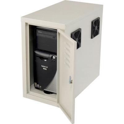 Global Industrial™ Orbit CPU Computer Enclosure Cabinet Front/Rear Doors 2 Exhaust Fans, Beige