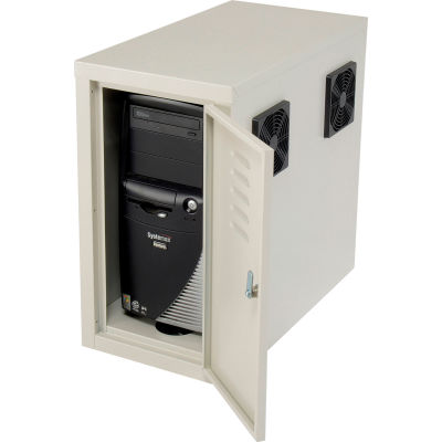 Global Industrial™ Orbit CPU Computer Enclosure Cabinet Front/Rear Doors 2 Exhaust Fans, Beige