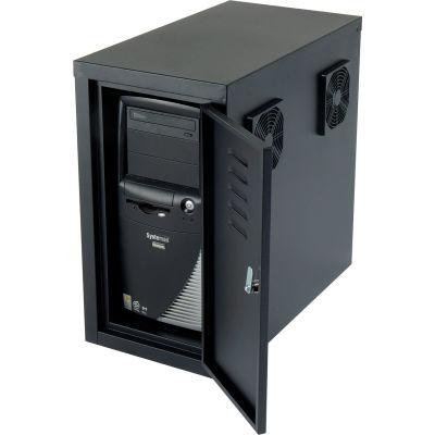 Global Industrial™ Orbit CPU Computer Enclosure Cabinet Front/Rear Doors 2 Exhaust Fans, Black