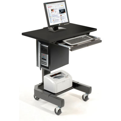"""Global Industrial™ Mobile Computer Cart, 27""""W x 24-1/2""""D x 41""""H, Black"""