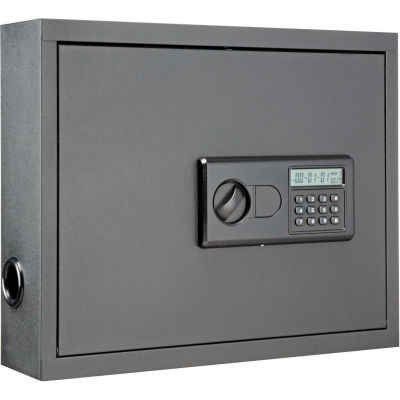 """Global Industrial™ Wall-Mount Laptop Security Cabinet, 19-3/4""""W x 4-3/4""""D x 15-3/4""""H, Gray"""