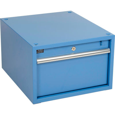 "Global Industrial™ Stacking Workbench Drawer 17-1/4""W x 20""D x 12""H - Blue"