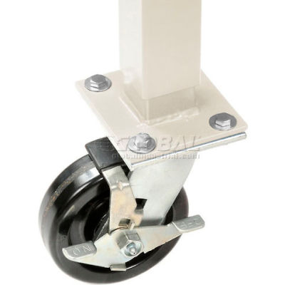 "Global Industrial™ 5"" Phenolic Swivel Casters with Brakes Tan"
