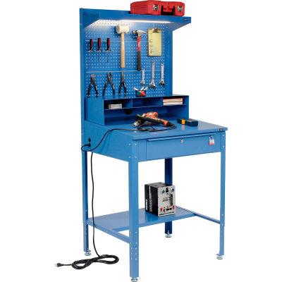 Global Industrial™ Shop Desk - Riser & Pegboard Panel 34-1/2 x 30 x 38 Sloped Surface - Blue