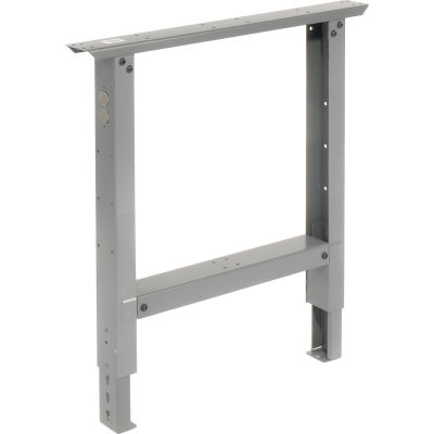 """Global Industrial™ Adjustable Height Steel Leg For Workbenches, 30""""D, Gray"""