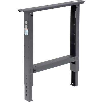 "Global Industrial™ Adjustable Height Steel Leg For Workbench, 30""D, Black"