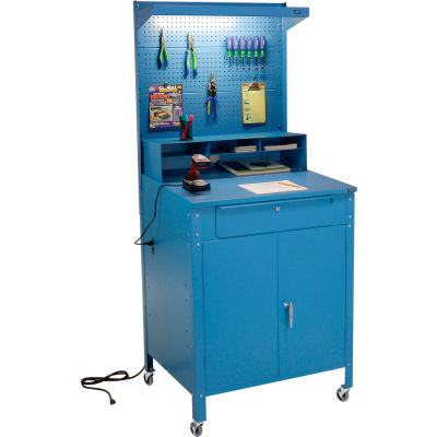 "Mobile Cabinet Shop Desk with Pigeonhole Riser, Pegboard & Top Shelf 34-1/2""W x 30""D x 80""H - Blue"