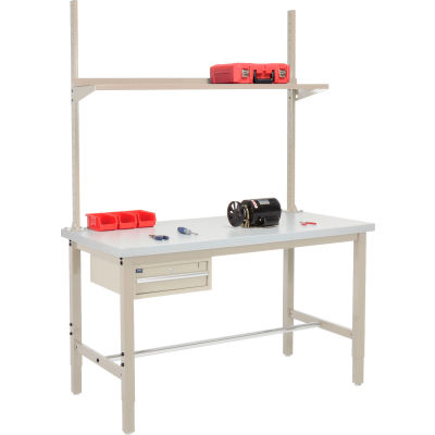 Global Industrial™ 72x30 Production Workbench Laminate Square Edge - Drawer, Upright & Shelf TN
