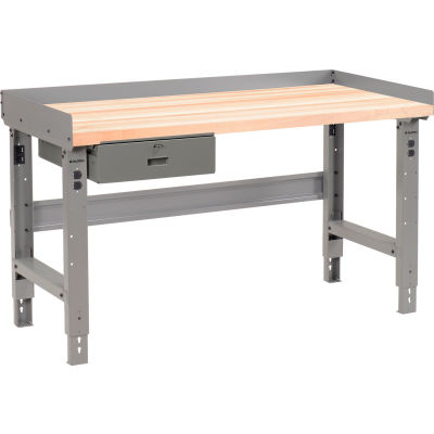 Global Industrial™ 60 x 30 Adj Height Workbench w/Drawer, Maple Square Edge Top - Gray