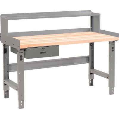 Global Industrial™ 60 x 30 Ad. Height Workbench w/Drawer & Riser, Maple Sq. Edge Top - Gray