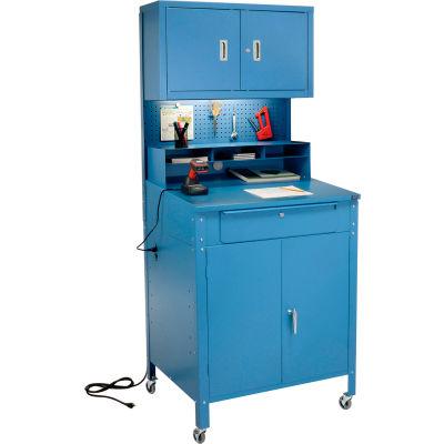 "Mobile Cabinet Shop Desk w/ Pigeonhole Riser, Pegboard & Upper Cabinet 34-1/2""W x 30""D x 80""H - Blue"