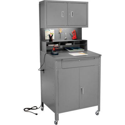 "Mobile Cabinet Shop Desk w/ Pigeonhole Riser, Pegboard & Upper Cabinet 34-1/2""W x 30""D x 80""H - Gray"