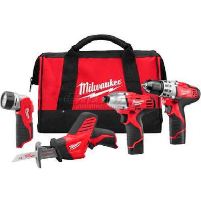 Milwaukee 2498-24 M12 Cordless 4-Tool Combo Kit