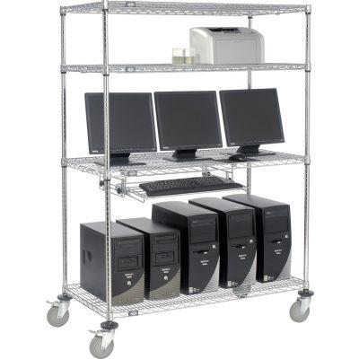 """Nexel™ 4-Shelf Mobile Wire Computer LAN Workstation w/Keyboard Tray, 48""""W x 24""""D x 69""""H, Chrome"""