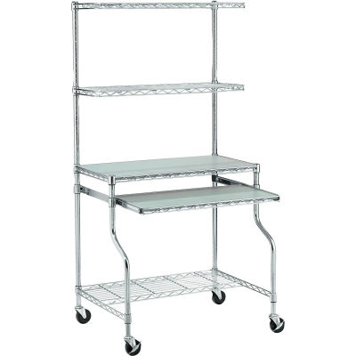 """Global Industrial™ Chrome Wire Shelf Mobile Computer LAN Workstation, 31-1/2""""W x 24""""D x 63""""H"""