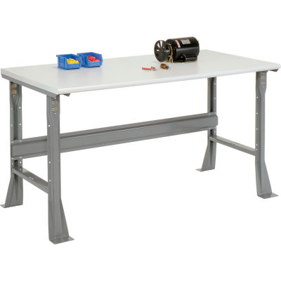 Global Industrial™ 72 x 30 x 34 Fixed Height Workbench Flared Leg - ESD Safety Edge - Gray