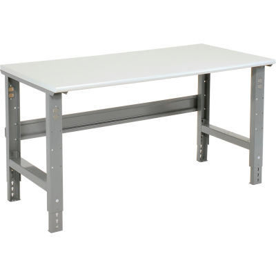 """72""""W x 36""""D Adjustable Height Workbench C-Channel Leg - ESD Plastic Safety Edge - Gray"""