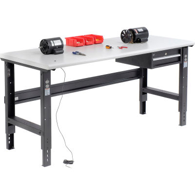Global Industrial™ 72x36 Adjustable Height Workbench C-Channel Leg - ESD Safety Edge Black