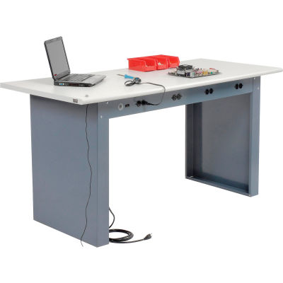 "Global Industrial™ 72""W x 30""D Panel Leg Workbench - Power Apron & ESD Safety Edge Top"