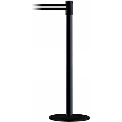 Tensabarrier Crowd Control, Queue Stanchion Post, Black W/ 7.5' Black/White Retractable Belt Barrier