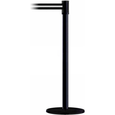 """Tensabarrier® Retractable Belt Barrier, 40"""" Black Post, 7-1/2' Black/White Belt"""