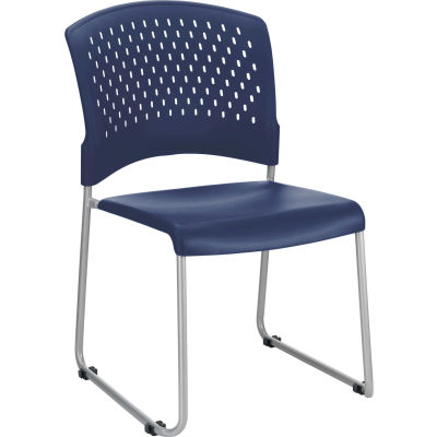 Interion® Plastic Stacking Chair - Blue - Pkg Qty 4