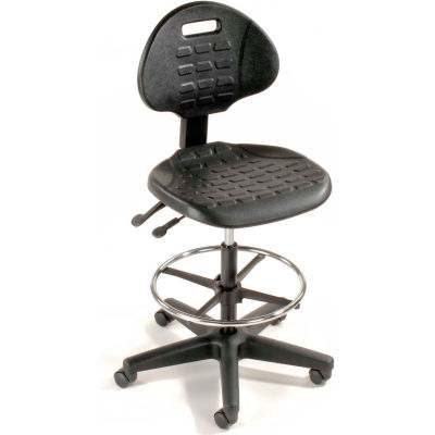 Interion® Ergonomic Stool - Polyurethane - 5 Way Adjustment - Black