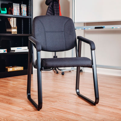 Interion® Guest Chair - Fabric - Black