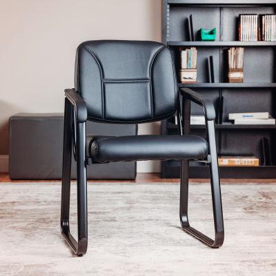 Interion® Reception Chair - Vinyl - Black