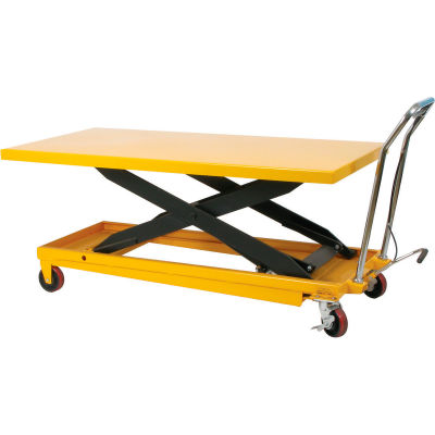 Wesco® Long Deck Mobile Scissor Lift 273261 with Oversized 63 x 32 Table Top 1100 Lb.