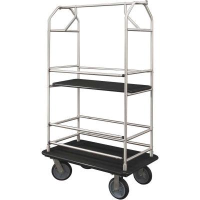 Glaro Bellman Condo Cart 40x25 Satin Aluminim Black Carpet, 4 Rubber Wheels