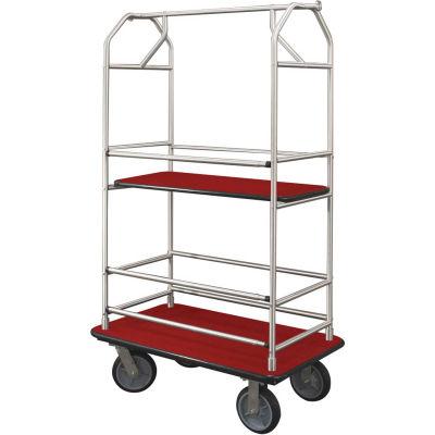 Glaro Bellman Condo Cart 40x25 Satin Aluminim Burgundy Carpet, 4 Rubber Wheels