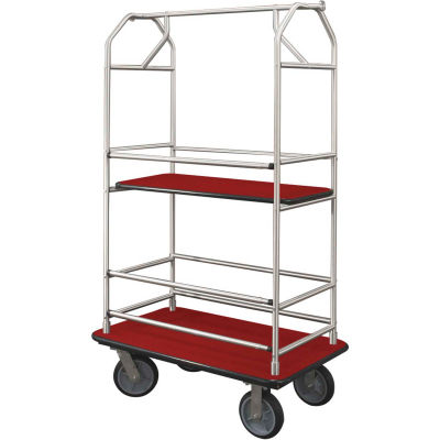 Glaro Bellman Condo Cart 48x25 Satin Aluminim Burgundy Carpet, 4 Rubber Wheels