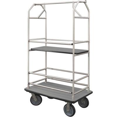 Glaro Bellman Condo Cart 48x25 Satin Aluminim Gray Carpet, 4 Rubber Wheels