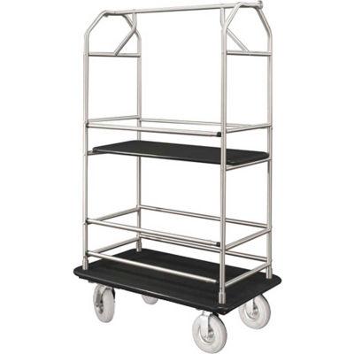 Glaro Bellman Condo Cart 48x25 Satin Aluminim Black Carpet, 4 Pneumatic Wheels