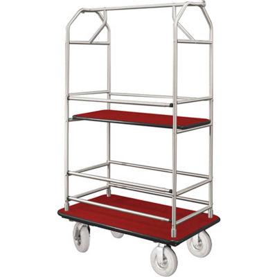 Glaro Bellman Condo Cart 40x25 Satin Aluminim Burgundy Carpet, 4 Pneumatic Wheels